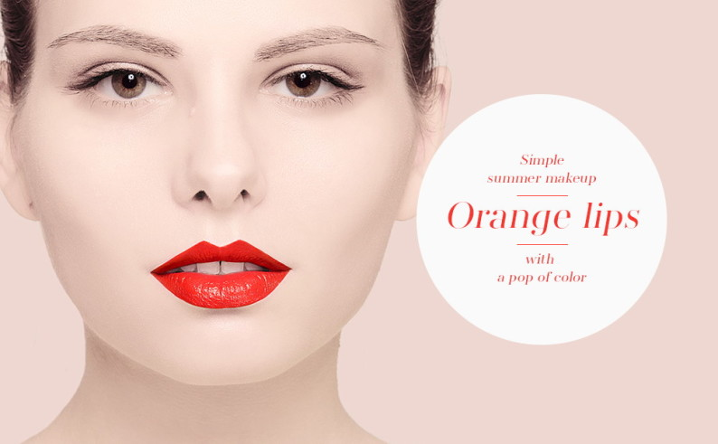Simple summer makeup with a pop of color - orange lips